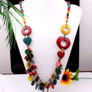 Handmade Multi color Coconut Shell Beads Necklace 34L