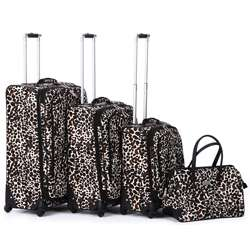 Nicole Miller Camo Cheetah 4 piece Expandable Spinner Luggage Set