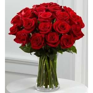 Dozen Long Stem Red Roses   Vase: Grocery & Gourmet Food