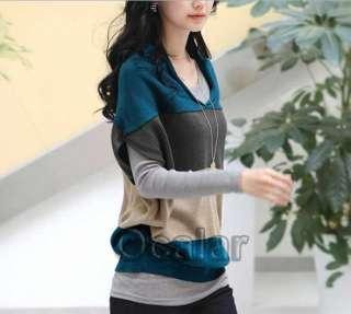 Women V neck Wide Stripe Batwing Sleeve Blouse Shoulder Stripe Sweater