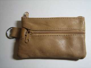 TAN High Quality Leather Money Coin Purse Zippered Wallet With