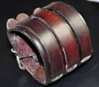 Mens Quality 3 band Wide Vintage First Class Leather Bracelet Cuff