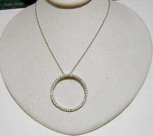 14k White Gold DIAMOND Circle of Life Pendant Free Ship