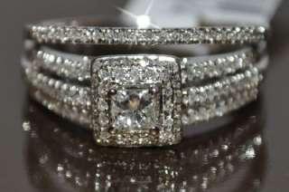 DIAMOND WEDDING SET 14K WHITE GOLD .72CT 2PC ENGAGEMENT RING + BAND