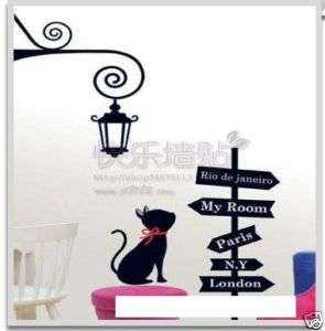 Wall Decor Decal Sticker Removable Vinyl cat and pole B