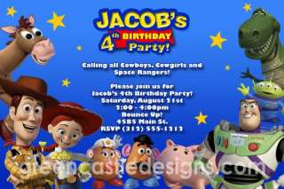 Invitation   Custom Personalized Birthday Party Invite   Woody Buzz 3