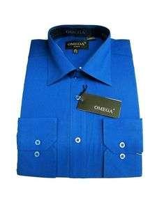 NEW WITH TAGS, OMEGA MENS ROYAL BLUE LONG SLEEVE DRESS SHIRT