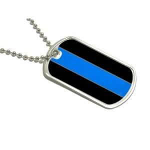 Thin Blue Line Police   Military Dog Tag Keychain