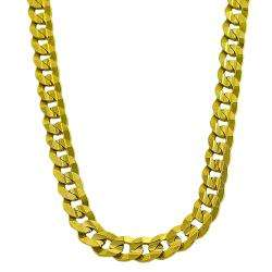 14k Yellow Gold Mens Solid 18 inch Curb Link Necklace