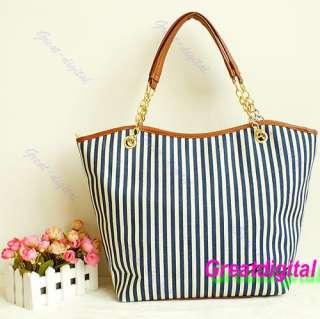 Women Handbag Ladies Shopping Stripes Tassel Tote Shoulder Bag Linen
