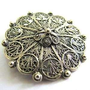 925 Sterling Silver Ethnic Artisan Filigree Brooch Pin   ID111