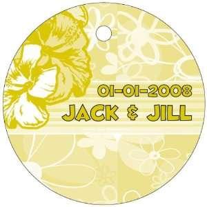 Baby Keepsake Yellow Flowers Design Circle Shaped Personalized Thank