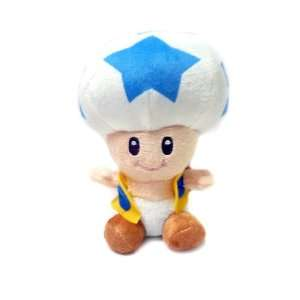 Mario Bro Super Star Toad 8 inch Plush   Blue Toys & Games