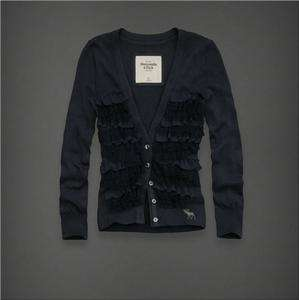 NWT Abercrombie & Fitch Women Angie Sweater Cardigan Shirt Top Navy