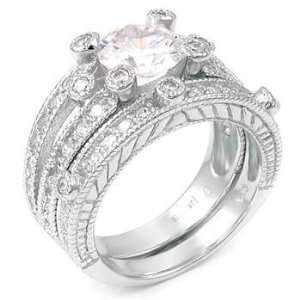 .925 Sterling Silver Wedding Ring Set, Perfectly Polished