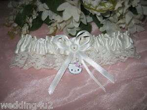 HELLO KITTY Garter Wedding Bridal Garters TOSS WHITE