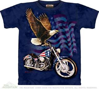 Born to Ride Eagle Harley Davidson Motorcycle The Mountain Adult T Tee