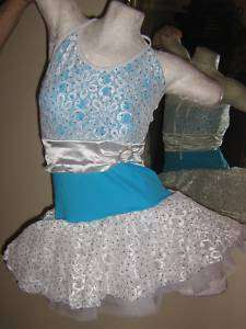 NEW Turquoise Blue Sequin Dance Ballet Jazz Costume Tutu Dress CHILD