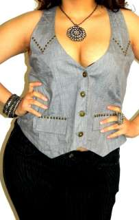 LOW CUT CLEAVAGE COWGIRL WESTERN STUDDED SECRETARY VEST TOP 3X