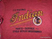 LUCKY BRAND GENUINE INDIAN MOTORCYCLES T SHIRT RED VINTAGE LOOK COTTON