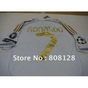 white ronaldo #7 uniforms real madrid home champions league