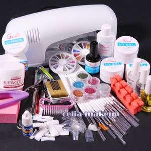Gel Lamp Dryer Manicure Nail Art Glitter Salon Polish TIPS SET KIT 262