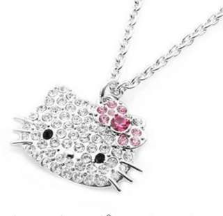 cute hello kitty pink bow necklace ring earring 3item Set match gift