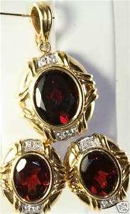 NEW 14K GOLD GARNET DIAMOND OMEGA EARRINGS ENHANCER