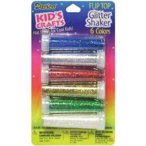 Darice Flip Top Glitter Shaker 6/Pkg Red Blue Silver Gold Green White