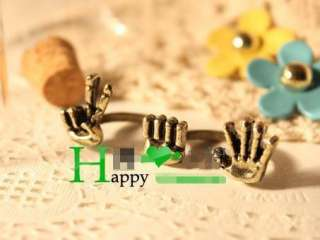 Vintage Retro Style Happy Victory Palms Antique Rings Double Finger