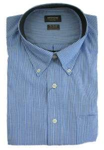 Long Sleeve Regular Fit Oxford Dress Shirt Blue White Stripes