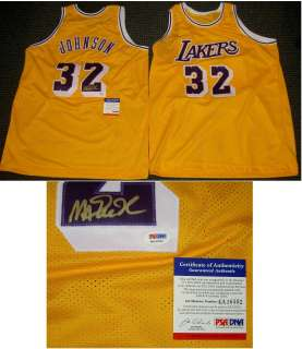 MAGIC JOHNSON AUTOGRAPHED SIGNED YELLOW JERSEY LOS ANGELES LAKERS PSA