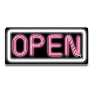 Neon Open Sign   White Border & Pink Letters: Office Products