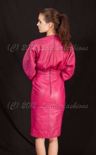 Classic Jean Claude Jitrois Pink Leather Mini Dress sz 36 US 2 / XS
