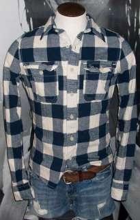 Abercrombie Plaid Dress Shirt M NWT Blue White Button Up FlannelNEW
