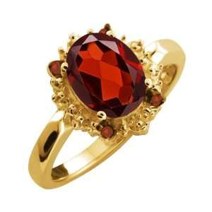 03 Ct Genuine Oval Red Garnet Gemstone 10k Yellow Gold Ring Jewelry