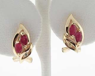 Natural Ruby Diamonds Solid 14k Yellow Gold Huggie Clip Earrings