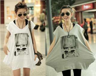 2012 Spring Casual Oversized Sunglasses Girl Long Tshirt Top