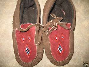 NATIVE AMERICAN BEADED MOCCASINS COZY TUFF SZ6 L@@K