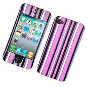 Purple Black Strip Design Rubberized Snap on Hard Skin