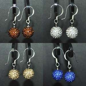 Silver Swarovski Crystal Disco Ball Sterling Earring Studs+Gift Box