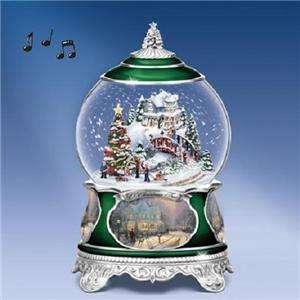 THOMAS KINKADE O Christmas Tree MUSICAL Snowglobe NEW