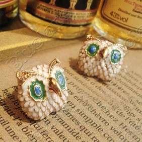 Retro Vintage Lovely Mini Owl with Big Eyes Diamond Cute Earrings 5192