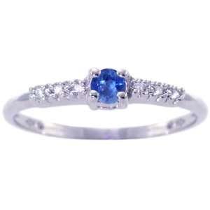 14K White Gold Petite Round Gemstone and Diamond Promise Ring