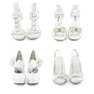 Womens White color wedding bridal party wearing sandal heel shoes size