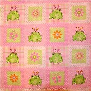 HALF YARD Dena Designs FROG FLOWER Pink Fabric Traditions 2007 Flannel