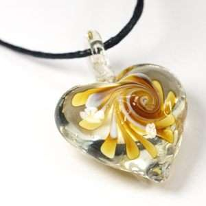 Ladys Murano Lampwork Glass Yellow Heart Style Pendant Necklace Chain
