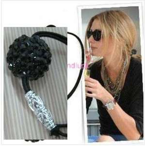 Fashion Black Shining Ball Rubberband Elastic Hair band