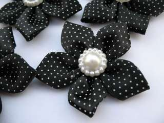 20 Polka Dots Satin Ribbon Flower Pearl Black RF077