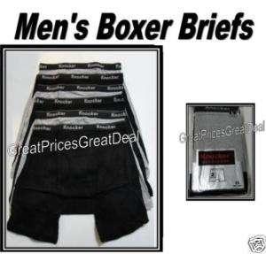Mens Boxer Briefs COTTON Underwear BLK/GRAY XL 42 44